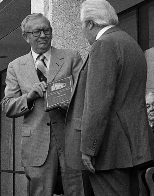 HF Robinson receiving the Mountain Heritage award, 1979.