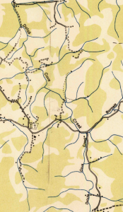 The Dutch Cove area of Haywood County, located to the southeast of Canton, NC. Image from 1935 U.S.G.S. map.