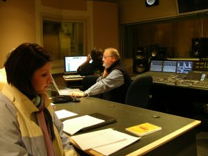 Tonya Carroll (B.A., 2007 M.A., 2009) with Bruce Frazier (Carol Grotnes Belk Endowed Professor in Commercial & Electronic Music) in the recording studio.